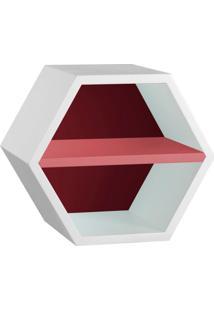 Nicho Hexagonal Favo Ii Com Prateleira Branco Com Bordo E Rosa New