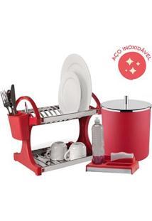 Kit Organizador De Pia Brinox Vermelho Com Lixeira De 5,4 L – 3 Peças