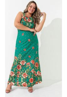 Vestido Floral Poá Elástico Na Cintura Plus Size