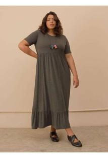 Vestido Gabriela Plus Size Grafite-G Cinza