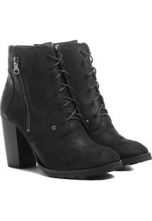 Bota Couro Coturno Shoestock Zíper Feminina - Feminino
