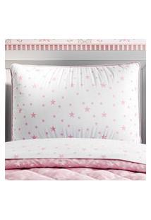 Capa Travesseiro Infantil Branco/Rosa Estrelas Gráo De Gente Rosa