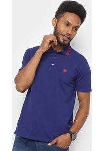Camisa Polo Cavalera Básica Bordado Masculina - Masculino-Marinho