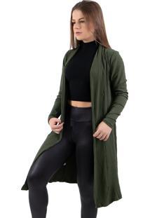 Cardigan Comprido Canelado Com Fenda 4 Estaã§Ãµes Verde Militar - Verde Militar - Feminino - Poliã©Ster - Dafiti