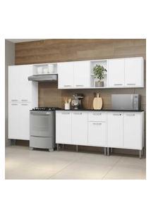 Cozinha Completa Compacta C/ Armário E Balcáo C/ Tampo 6 Pçs Xangai Jazz Multimóveis Branca