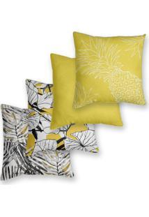 Kit 4 Capas De Almofadas Decorativas Own Tropical Amarelo 45X45 - Somente Capa