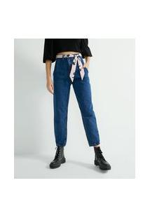 Calça Baggy Jeans Lisa Com Cinto Faixa Estampado
