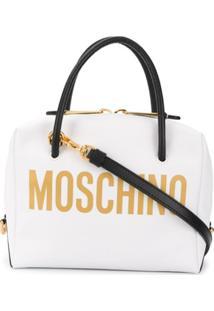 Moschino Bolsa Tote Com Placa De Logo - Branco
