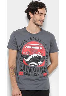 Camiseta Bulldog Fish California Masculina - Masculino-Chumbo