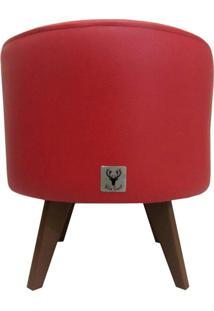 Puff Pé Palito Redondo Alce Couch Courvin Vermelho 40Cm