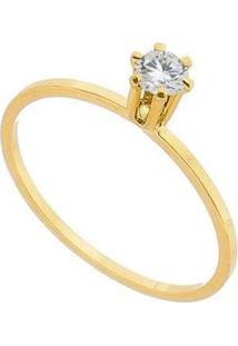 Anel Lys Lazuli Solitário Chuveirinho Zircônia Semijoia Banhada Ouro Feminino - Feminino-Dourado