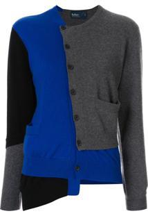 Kolor Cardigan Assimétrico Com Patch - Azul