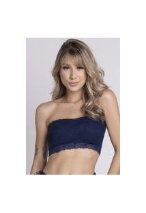Sutiã Bella Fiore Modas Tomara Que Caia Top Renda Azul Royal