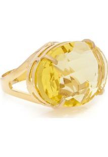 Anel Cristallo Cristal Oval - Feminino-Amarelo