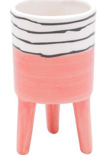Vaso Bright Colors- Rosa & Branco- 12Xø7Cm- Urbaurban