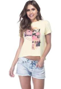 T-Shirt Fem Recorte Guess Feminino - Feminino-Marrom