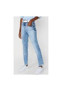 Calça Jeans Biotipo Skinny Marmorizada Azul
