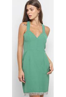 Vestido Triton Tubinho Curto Com Franja - Feminino-Verde