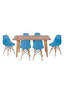 Conjunto Mesa De Jantar Em Madeira 150X80 Vértice + 6 Cadeiras Eiffel - Turquesa