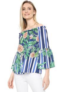 Blusa Mercatto Ombro A Ombro Floral Azul/Verde
