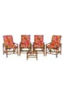 Conjunto Mesa E 4 Cadeiras De Bambu Cancun Para Área Edicula Jardim G34