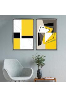 Quadro Com Moldura Chanfrada Abstrato Amarelo Grafitti Metalizado - Mã©Dio - Multicolorido - Dafiti
