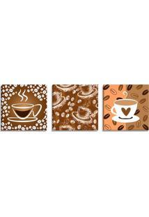 Conjunto De 3 Telas Decorativas Estilo Ilustração Xícaras De Café - Montada: 40X126Cm (A-L) Unico