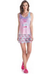 Pijama Peace Regata Curto Rosa/P