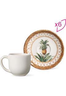 Jogo De Xícaras De Café Coup Pineapple Natural- Branco &Porto Brasil