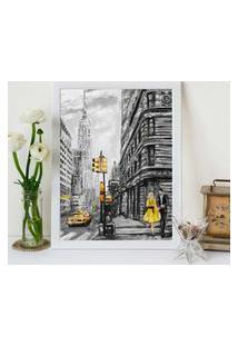 Quadro Decorativo Com Moldura Pintura Londres Branco - 30X40Cm