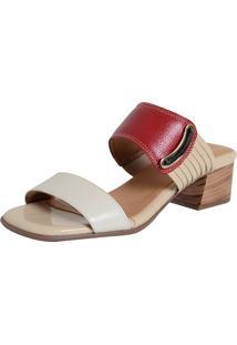 Tamanco Laura Prado Confort Marfim/Vermelho