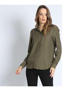 Camisa Em Liocel- Verde Militar- Intensintens