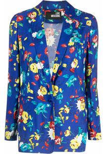 Love Moschino Blazer Com Abotoamento Simples E Estampa Floral - Azul