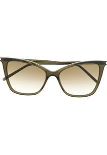 Saint Laurent Óculos De Sol Gatinho - Verde