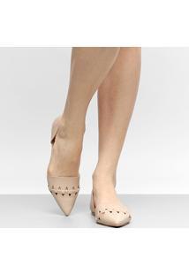Sapatilha Couro Shoestock Bico Fino Trançada Feminina - Feminino