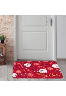 Tapete De Natal Para Porta Feliz Natal Vermelho ÚNico - Multicolorido - Dafiti