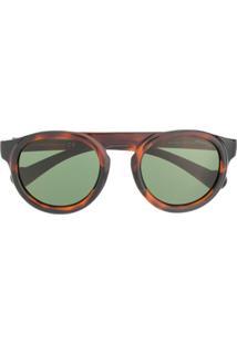Moncler Eyewear Óculos De Sol Redondo - Marrom