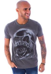 Camiseta Bossa Decote Canoa Skull Rose Preto