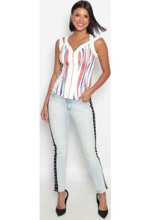 Blusa Com Tiras Cruzadas- Branca & Azul- Charrycharry