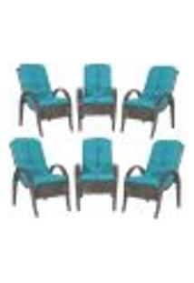 Cadeiras 6Un P/ Jardim Lazer Edicula Varanda Descanso Fibra E Tramas Napoli Plus Tabaco A20