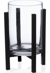 Porta Vela Base Vidro Transparente/Preto 25X13Cm