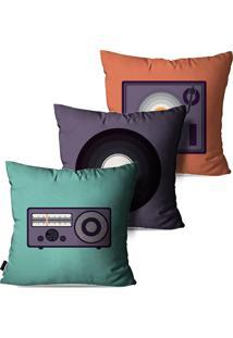 Kit Com 3 Capas Para Almofadas Pump Up Colorido Vintage Música E Mídias 45X45Cm