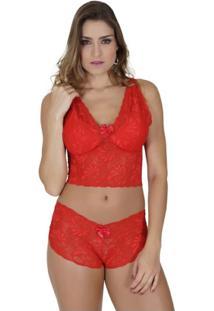 Conjunto Click Chique Caleçon Cropped Alça - Feminino-Vermelho