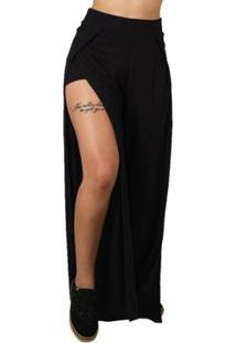 Calça Pantalona Transpassada Riu Kiu - Preta Riu Kiu - Feminino