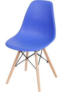 Cadeira Eames Polipropileno Azul Escuro Base Madeira - 40791 Sun House