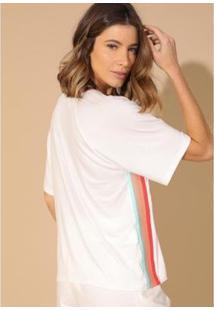 T-Shirt Enna Descolada Feminina - Feminino-Branco