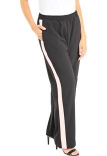 Calça 101 Resort Wear Pijama Cintura Alta Em Crepe Com Faixa Preto-Off
