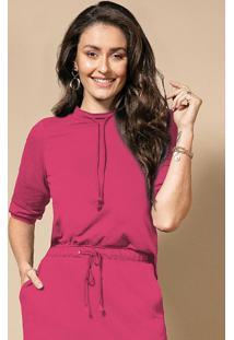 Blusa Pink Com Golinha E Amarração