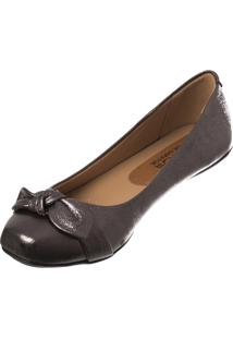 Sapatilha Butique De Sapatos Bico Quadrado Metalizada Chumbo