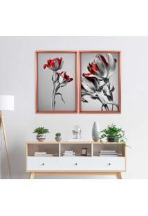 Quadro Love Decor Com Moldura Chanfrada Flores Vermelhas Rose Metalizado - Grande